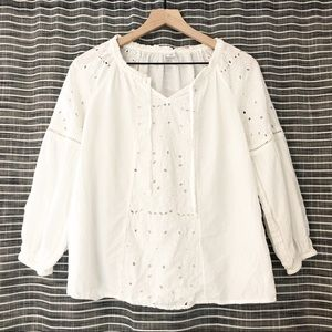 Old Navy | Cream Embroidered Peasant Blouse